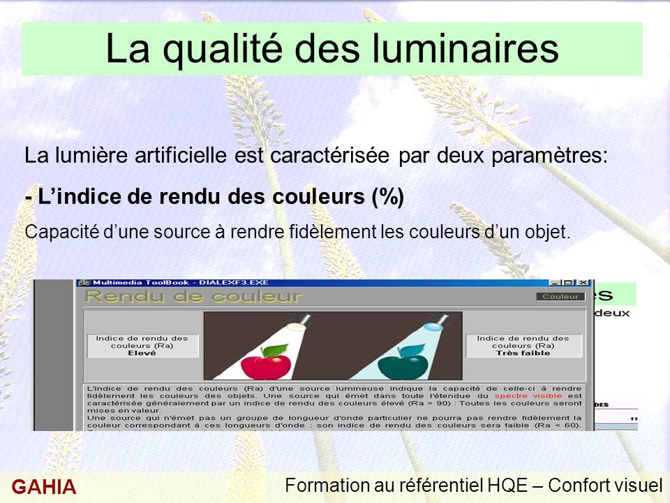 Formation au référentiel HQE – Confort visuel GAHIA La qualité des luminaires La lumière artificielle est caractérisée par deux paramètres: - L'indice