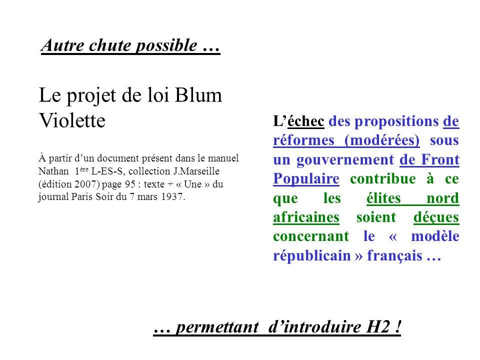 Autre chute possible … L'échec des propositions de réformes (modérées) sous un gouvernement de Front Populaire contribue à ce que les élites nord africaines soient déçues concernant le « modèle républicain » français … … permettant d'introduire H2 .