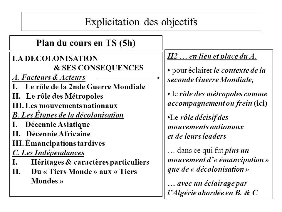 Explicitation des objectifs Plan du cours en TS (5h) LA DECOLONISATION & SES CONSEQUENCES A. Facteurs & Acteurs I. Le rôle de la 2nde Guerre Mondiale