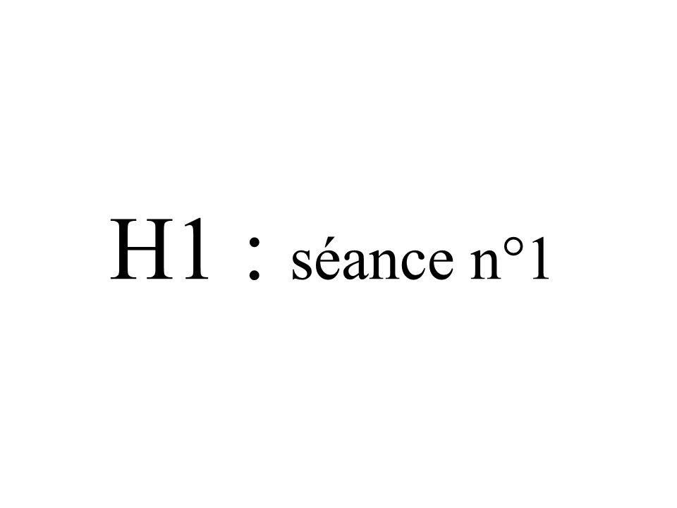 H1 : séance n°1