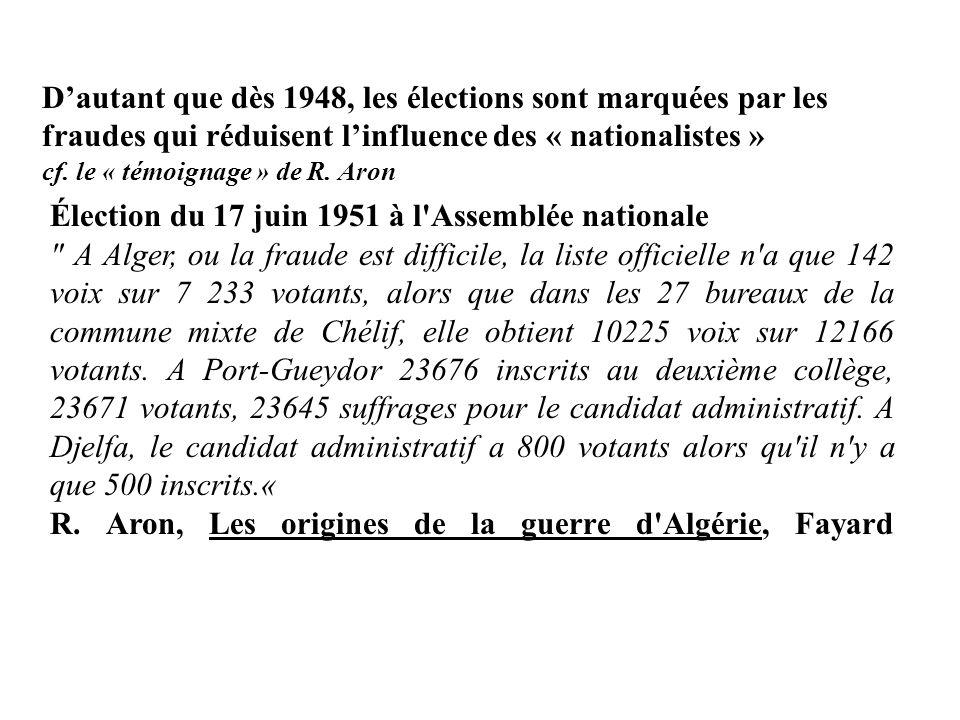 Élection du 17 juin 1951 à l Assemblée nationale A Alger, ou la fraude est difficile, la liste officielle n a que 142 voix sur 7 233 votants, alors que dans les 27 bureaux de la commune mixte de Chélif, elle obtient 10225 voix sur 12166 votants.