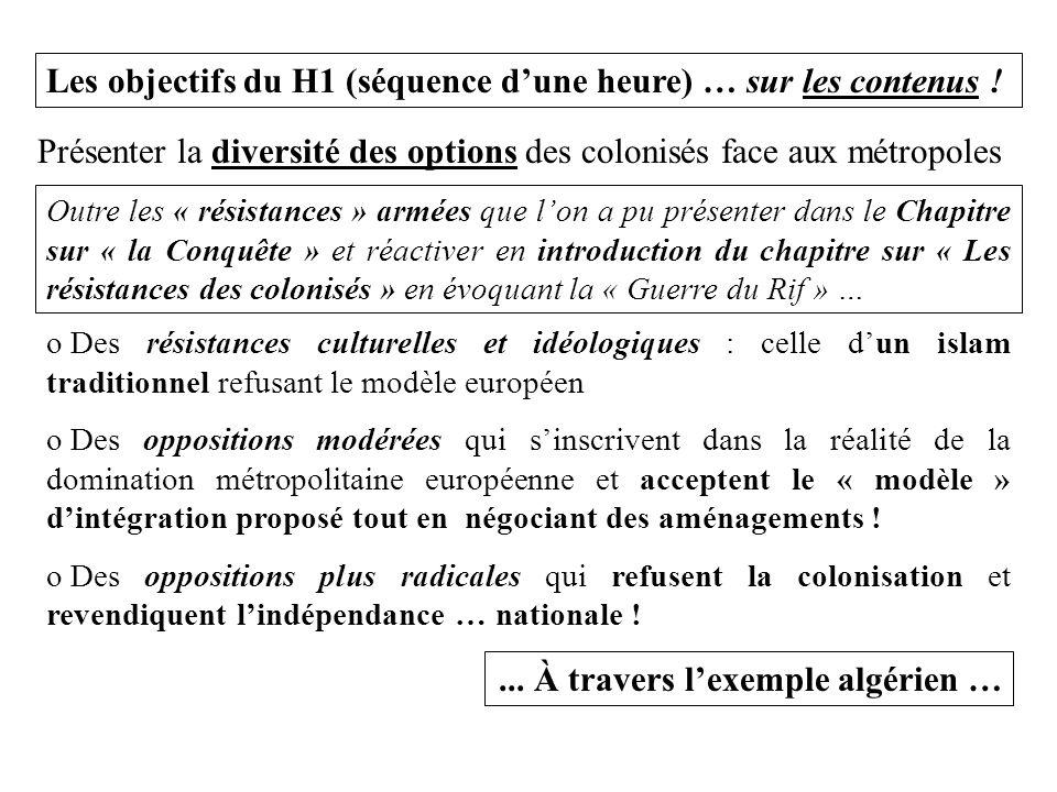 Les objectifs du H1 (séquence d'une heure) … sur les contenus ! o Des résistances culturelles et idéologiques : celle d'un islam traditionnel refusant