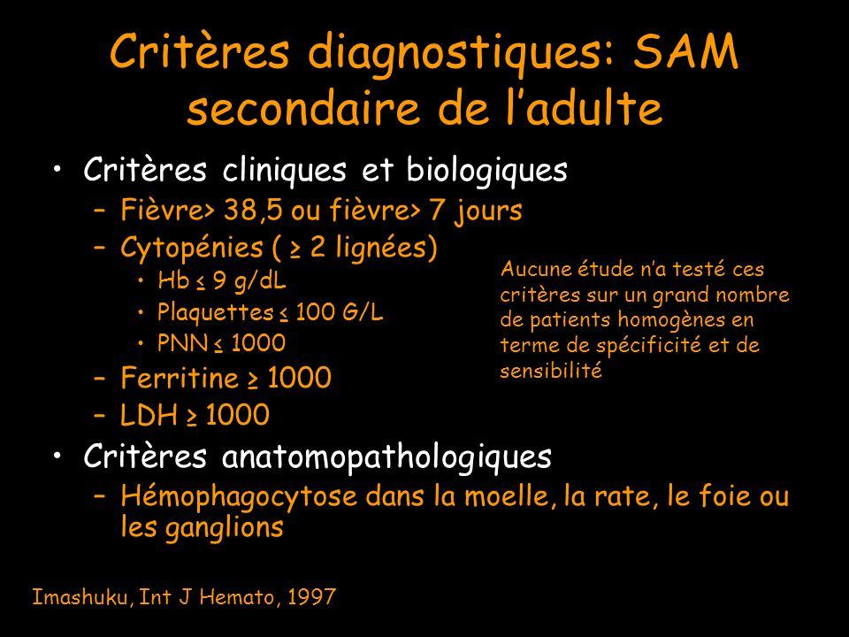 Critères diagnostiques: SAM secondaire de l'adulte Critères cliniques et biologiques –Fièvre> 38,5 ou fièvre> 7 jours –Cytopénies ( ≥ 2 lignées) Hb ≤
