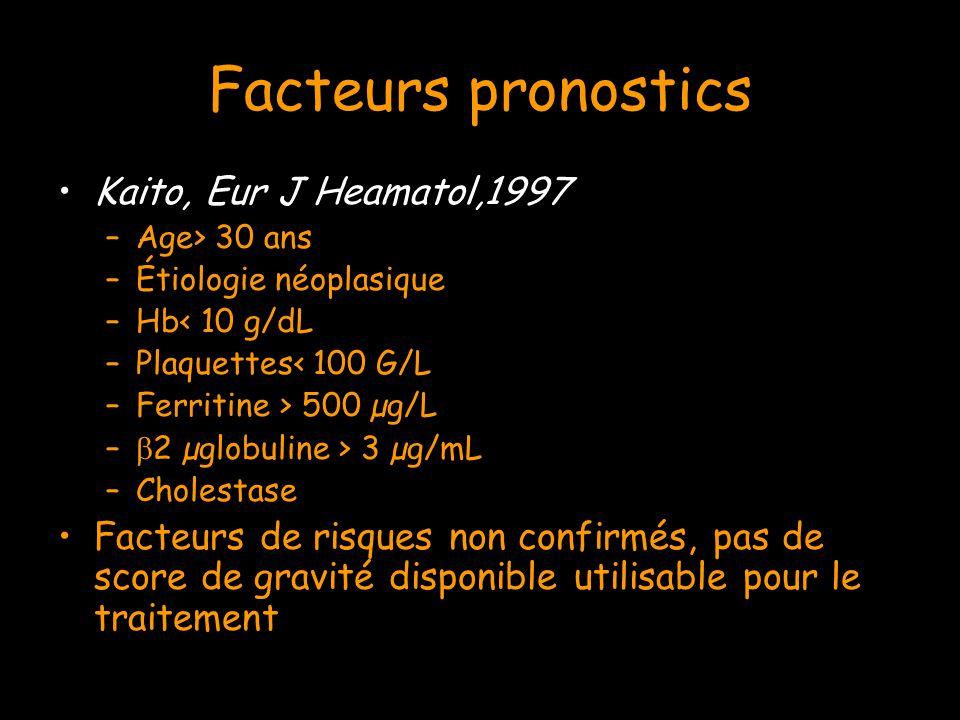Facteurs pronostics Kaito, Eur J Heamatol,1997 –Age> 30 ans –Étiologie néoplasique –Hb< 10 g/dL –Plaquettes< 100 G/L –Ferritine > 500 µg/L –  2 µglob