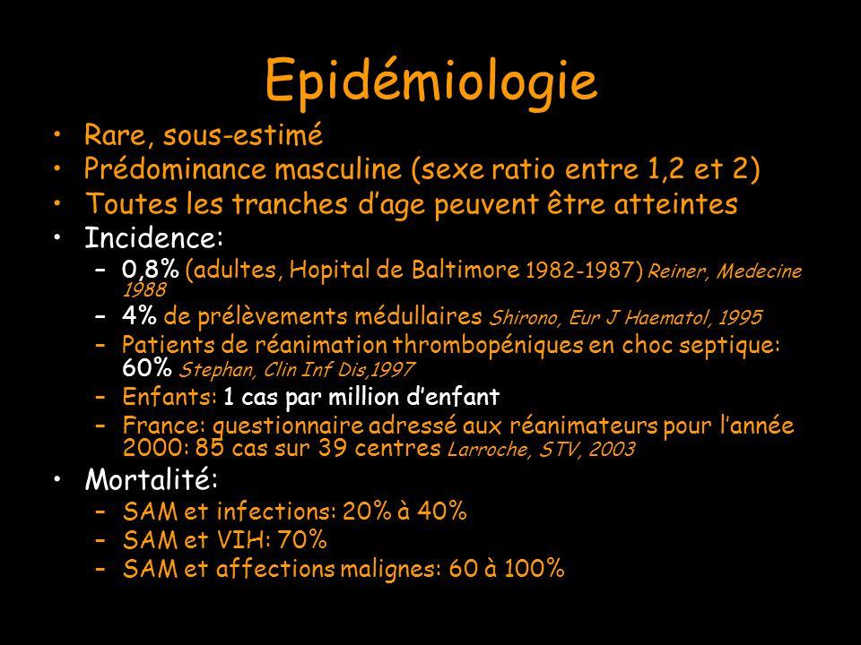 Diagnostic Manifestations cliniques: –Début brutal –Fièvre> 38,5 (90%) –Organomégalie: Hépato-splénomégalie (30 à70%) Adénopathies périphériques ( 20 à 40%) –Manifestations cutanées: érythème, purpura, œdème –Infiltrats pulmonaires –Manifestations neurologiques ( rare) Syndrome confusionnel, méningite