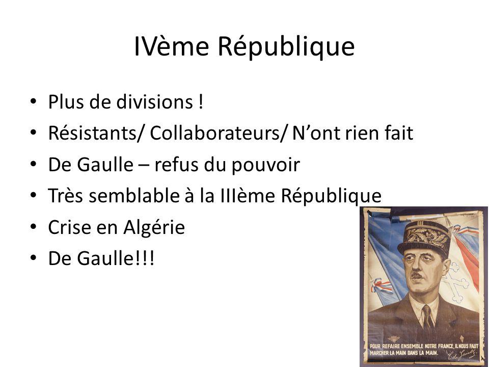 IVème République Plus de divisions .