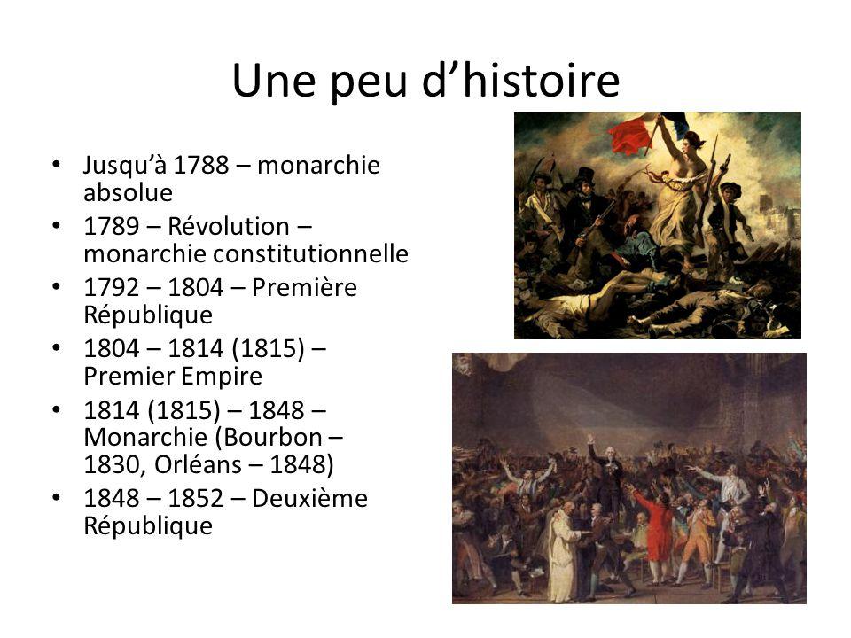 Une peu d'histoire Jusqu'à 1788 – monarchie absolue 1789 – Révolution – monarchie constitutionnelle 1792 – 1804 – Première République 1804 – 1814 (1815) – Premier Empire 1814 (1815) – 1848 – Monarchie (Bourbon – 1830, Orléans – 1848) 1848 – 1852 – Deuxième République