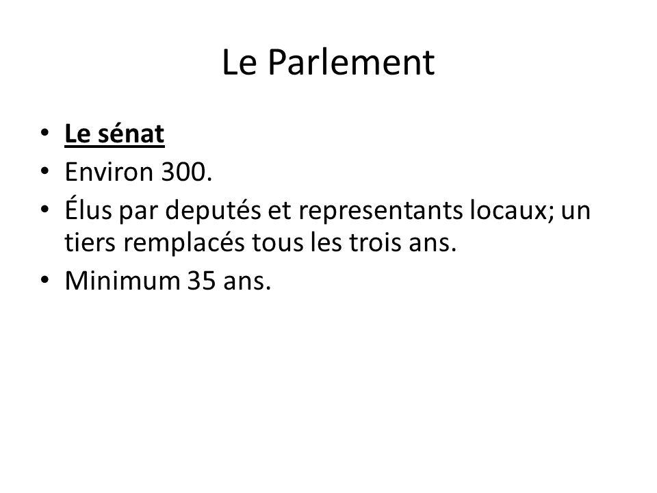 Le Parlement Le sénat Environ 300.