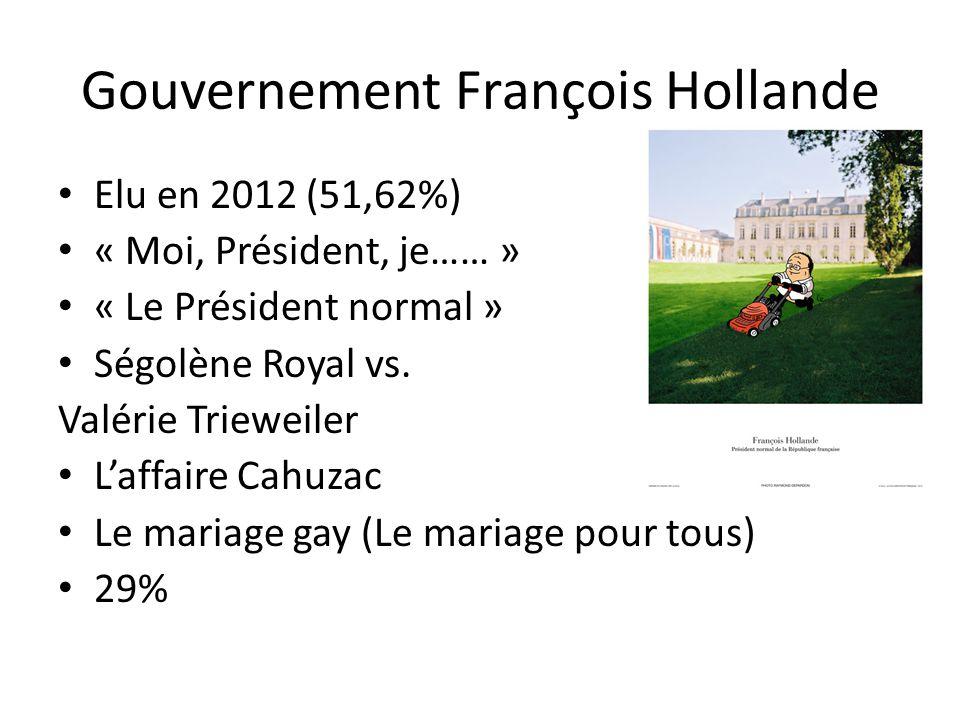 Gouvernement François Hollande Elu en 2012 (51,62%) « Moi, Président, je…… » « Le Président normal » Ségolène Royal vs.