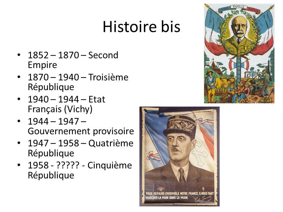 Histoire bis 1852 – 1870 – Second Empire 1870 – 1940 – Troisième République 1940 – 1944 – Etat Français (Vichy) 1944 – 1947 – Gouvernement provisoire 1947 – 1958 – Quatrième République 1958 - .
