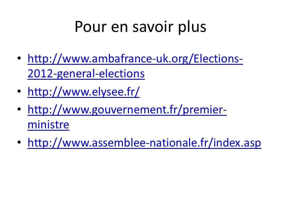 Pour en savoir plus http://www.ambafrance-uk.org/Elections- 2012-general-elections http://www.ambafrance-uk.org/Elections- 2012-general-elections http://www.elysee.fr/ http://www.gouvernement.fr/premier- ministre http://www.gouvernement.fr/premier- ministre http://www.assemblee-nationale.fr/index.asp