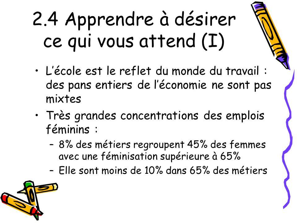 2.4 Apprendre à désirer ce qui vous attend (I) L'école est le reflet du monde du travail : des pans entiers de l'économie ne sont pas mixtes Très gran
