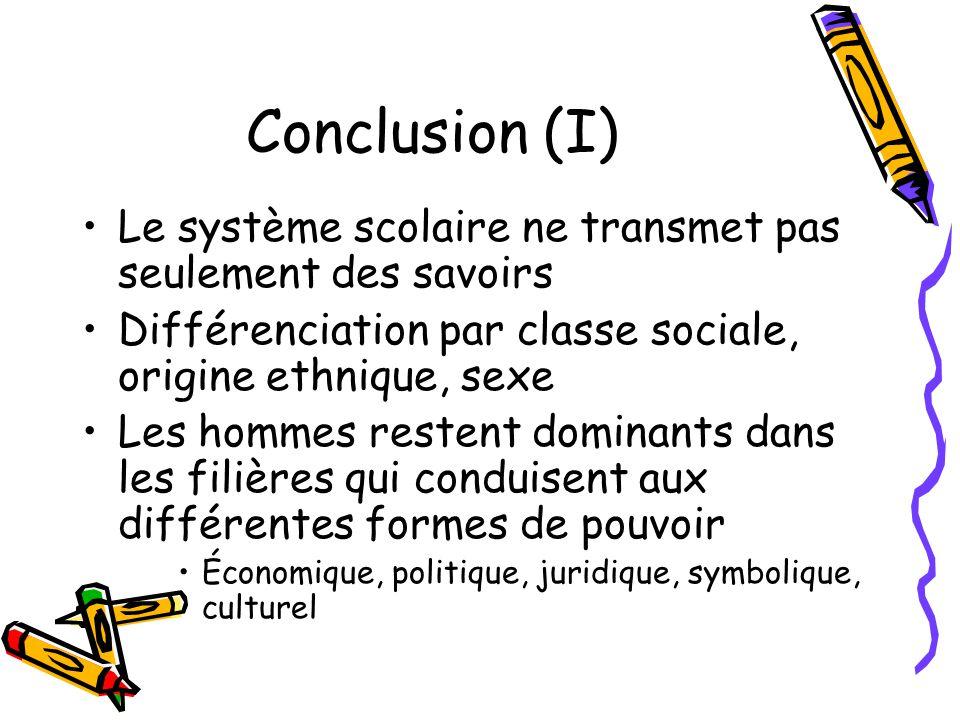 Conclusion (I) Le système scolaire ne transmet pas seulement des savoirs Différenciation par classe sociale, origine ethnique, sexe Les hommes restent