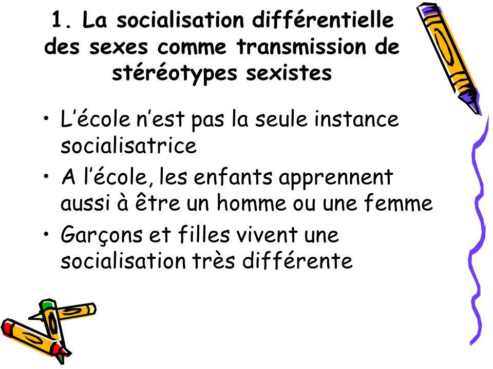 1. La socialisation différentielle des sexes comme transmission de stéréotypes sexistes L'école n'est pas la seule instance socialisatrice A l'école,