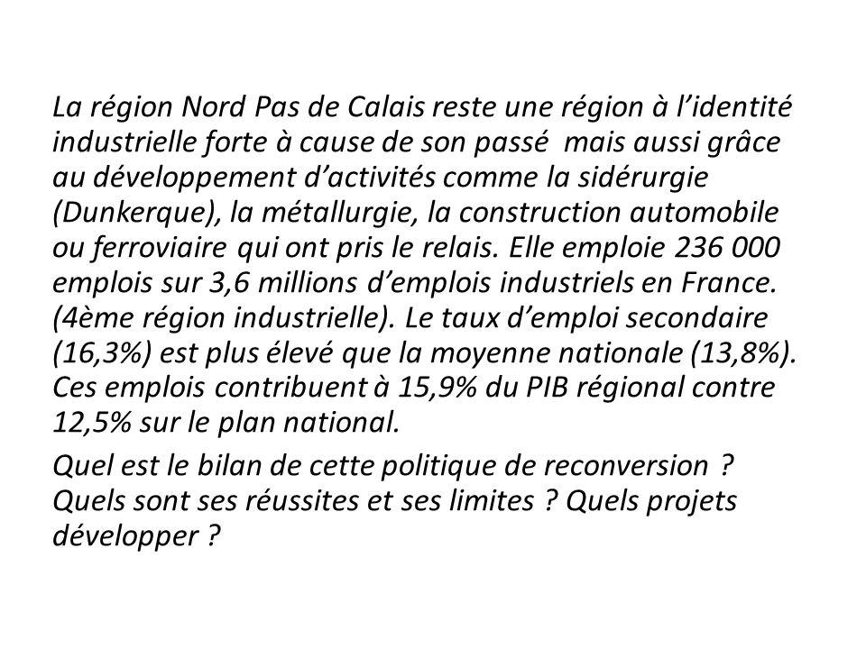 La région Nord Pas de Calais reste une région à l'identité industrielle forte à cause de son passé mais aussi grâce au développement d'activités comme