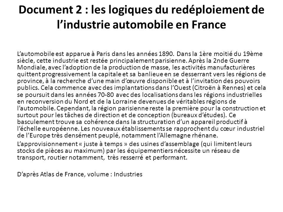 Document 2 : les logiques du redéploiement de l'industrie automobile en France L'automobile est apparue à Paris dans les années 1890. Dans la 1ère moi