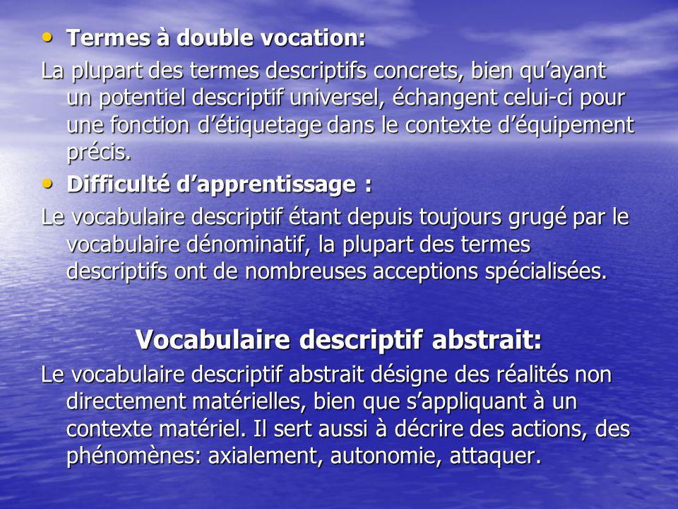 Termes à double vocation: Termes à double vocation: La plupart des termes descriptifs concrets, bien qu'ayant un potentiel descriptif universel, échangent celui-ci pour une fonction d'étiquetage dans le contexte d'équipement précis.