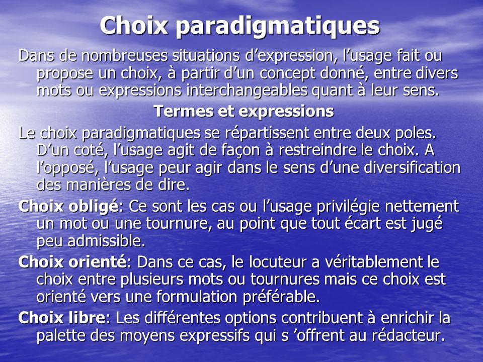 Choix paradigmatiques Dans de nombreuses situations d'expression, l'usage fait ou propose un choix, à partir d'un concept donné, entre divers mots ou