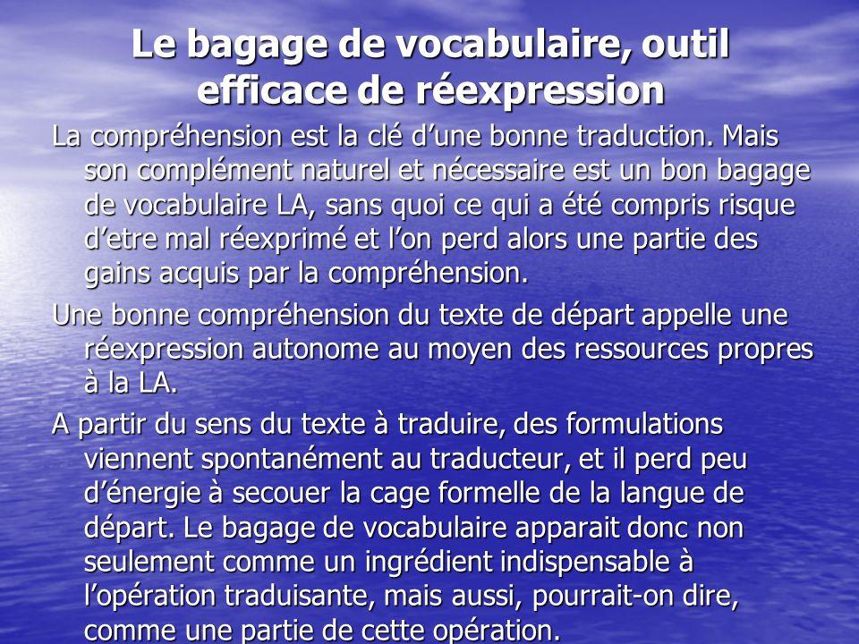 Le bagage de vocabulaire, outil efficace de réexpression La compréhension est la clé d'une bonne traduction. Mais son complément naturel et nécessaire