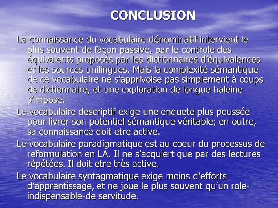 CONCLUSION La connaissance du vocabulaire dénominatif intervient le plus souvent de façon passive, par le controle des équivalents proposés par les dictionnaires d'équivalences et les sources unilingues.