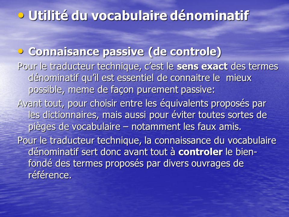 Utilité du vocabulaire dénominatif Utilité du vocabulaire dénominatif Connaisance passive (de controle) Connaisance passive (de controle) Pour le trad