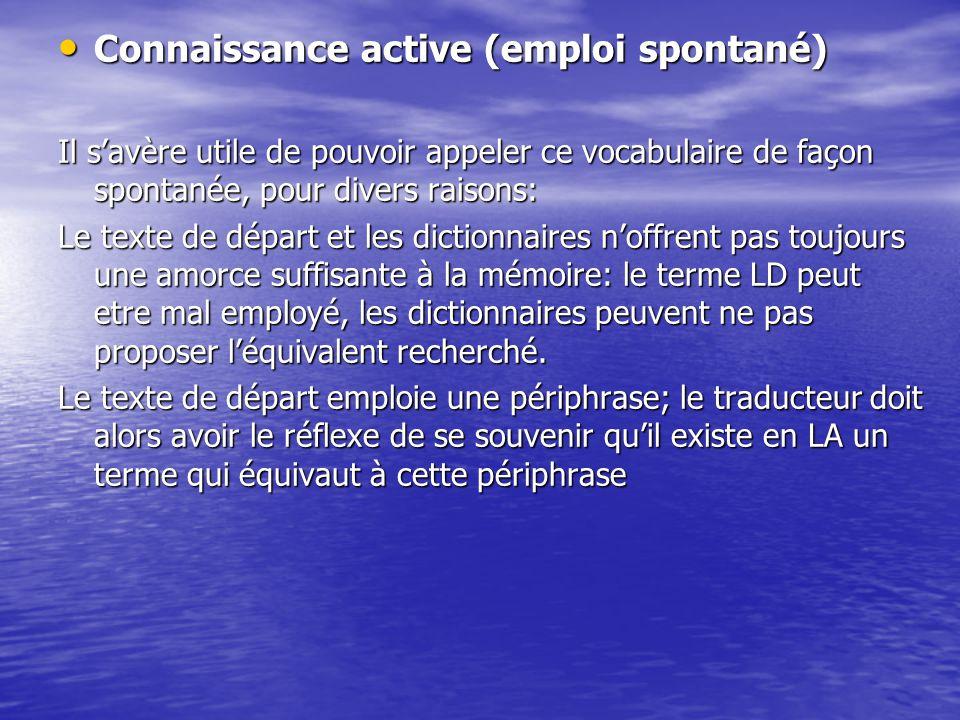 Connaissance active (emploi spontané) Connaissance active (emploi spontané) Il s'avère utile de pouvoir appeler ce vocabulaire de façon spontanée, pou