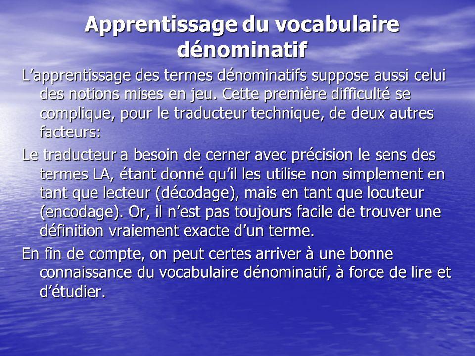 Apprentissage du vocabulaire dénominatif L'apprentissage des termes dénominatifs suppose aussi celui des notions mises en jeu. Cette première difficul