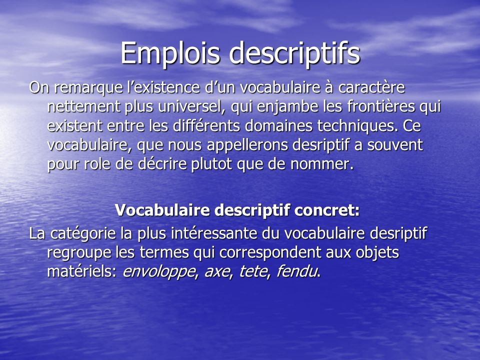 Emplois descriptifs On remarque l'existence d'un vocabulaire à caractère nettement plus universel, qui enjambe les frontières qui existent entre les différents domaines techniques.