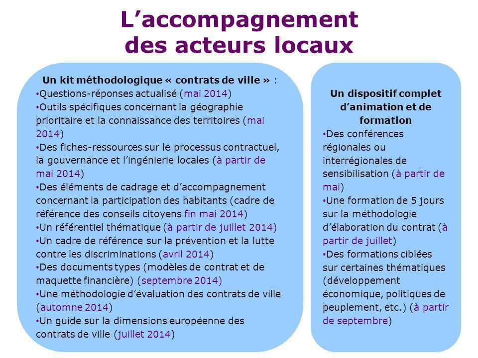 L'accompagnement des acteurs locaux Un kit méthodologique « contrats de ville » : Questions-réponses actualisé (mai 2014) Outils spécifiques concernan