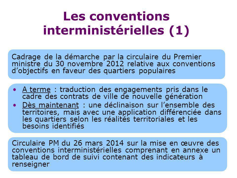 Les conventions interministérielles (1) Cadrage de la démarche par la circulaire du Premier ministre du 30 novembre 2012 relative aux conventions d'ob