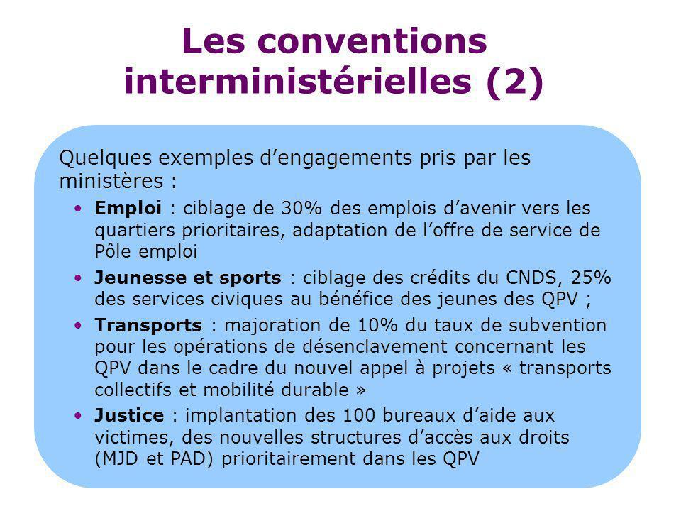 Les conventions interministérielles (2) Quelques exemples d'engagements pris par les ministères : Emploi : ciblage de 30% des emplois d'avenir vers le