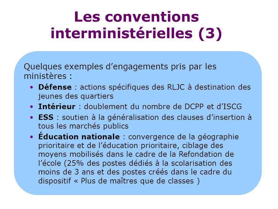 Les conventions interministérielles (3) Quelques exemples d'engagements pris par les ministères : Défense : actions spécifiques des RLJC à destination