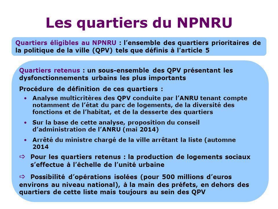 Les quartiers du NPNRU Quartiers éligibles au NPNRU : l'ensemble des quartiers prioritaires de la politique de la ville (QPV) tels que définis à l'art