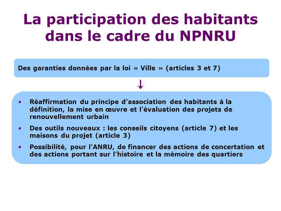 Réaffirmation du principe d'association des habitants à la définition, la mise en œuvre et l'évaluation des projets de renouvellement urbain Des outil