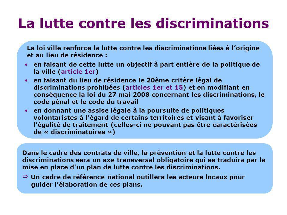 La lutte contre les discriminations en faisant de cette lutte un objectif à part entière de la politique de la ville (article 1er) en faisant du lieu
