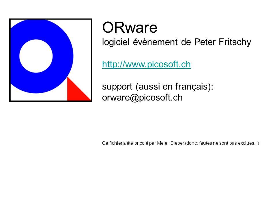 ORware logiciel évènement de Peter Fritschy http://www.picosoft.ch support (aussi en français): orware@picosoft.ch Ce fichier a été bricolé par Meieli Sieber (donc: fautes ne sont pas exclues...)