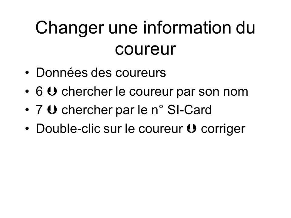Changer une information du coureur Données des coureurs 6  chercher le coureur par son nom 7  chercher par le n° SI-Card Double-clic sur le coureur  corriger