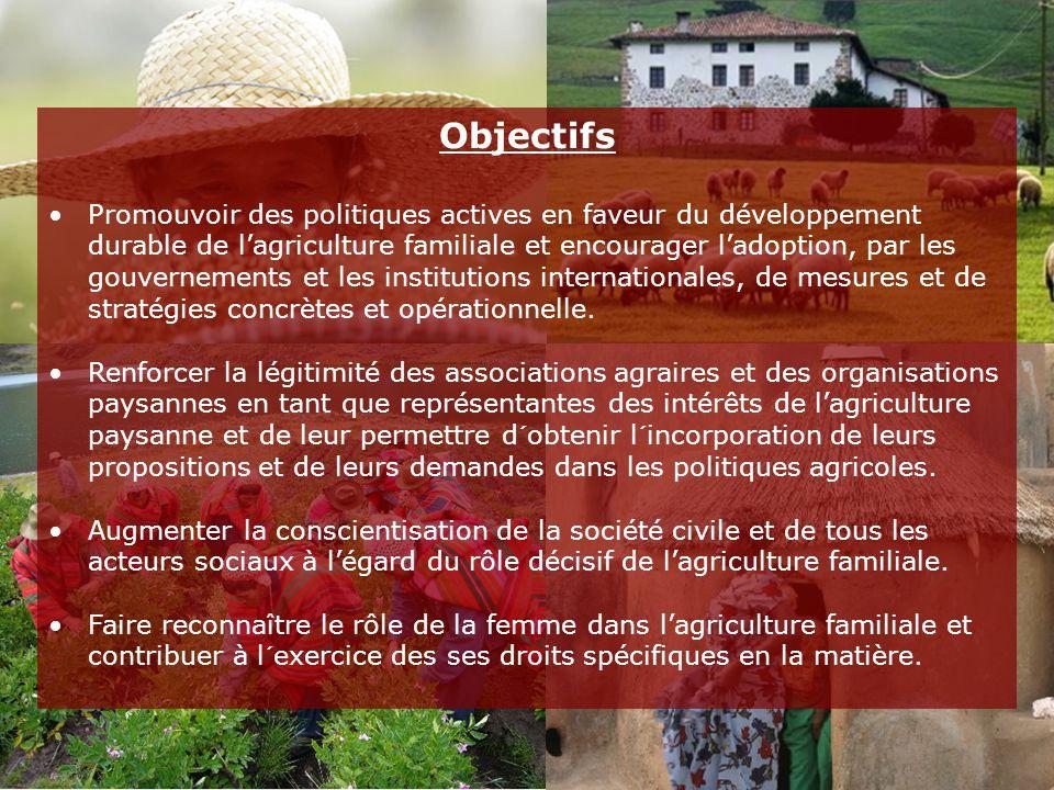 Objectifs Promouvoir des politiques actives en faveur du développement durable de l'agriculture familiale et encourager l'adoption, par les gouvernements et les institutions internationales, de mesures et de stratégies concrètes et opérationnelle.
