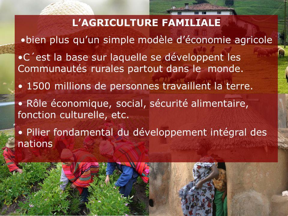 L'AGRICULTURE FAMILIALE bien plus qu'un simple modèle d'économie agricole C´est la base sur laquelle se développent les Communautés rurales partout dans le monde.