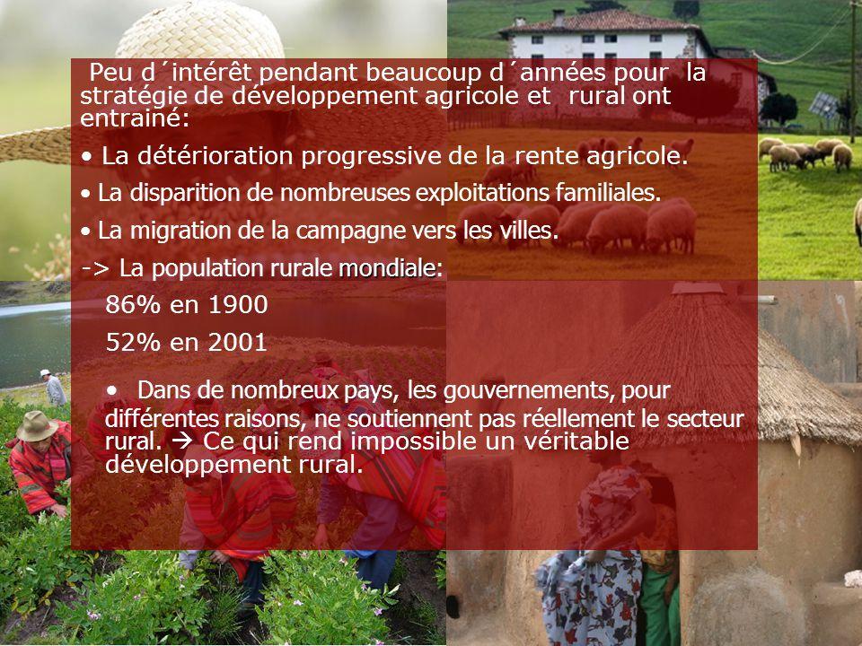 Peu d´intérêt pendant beaucoup d´années pour la stratégie de développement agricole et rural ont entrainé: La détérioration progressive de la rente ag