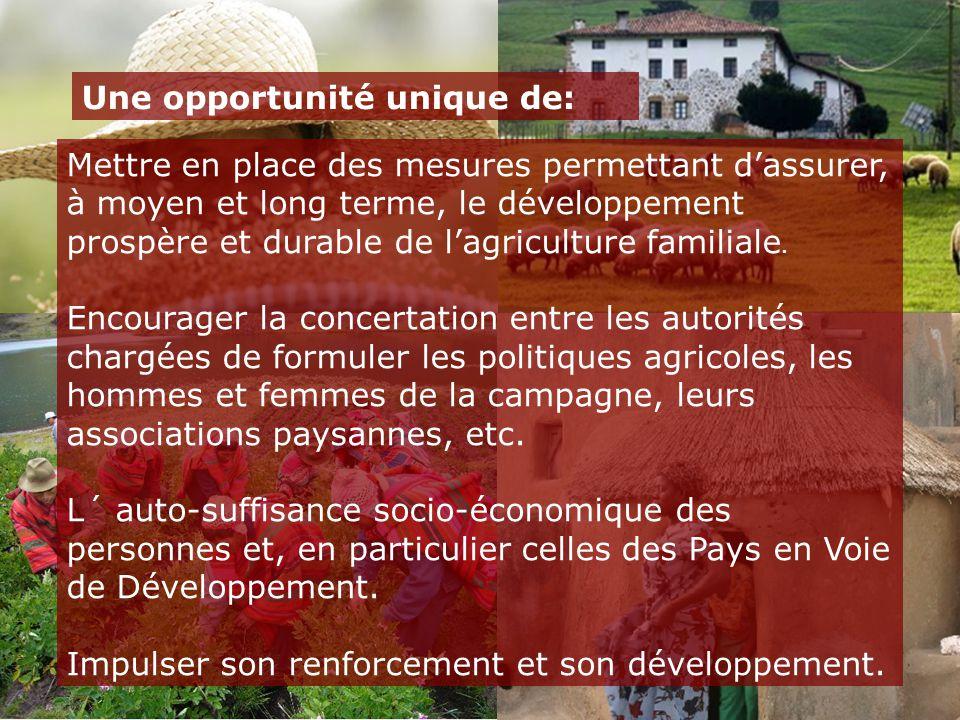 Mettre en place des mesures permettant d'assurer, à moyen et long terme, le développement prospère et durable de l'agriculture familiale. Encourager l