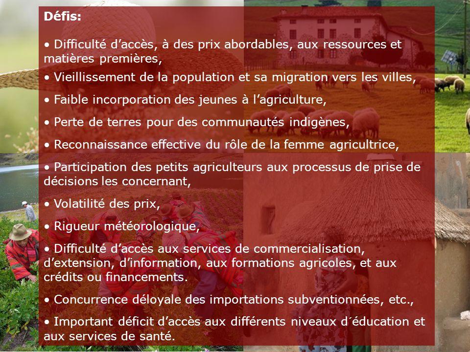 Défis: Difficulté d'accès, à des prix abordables, aux ressources et matières premières, Vieillissement de la population et sa migration vers les villes, Faible incorporation des jeunes à l'agriculture, Perte de terres pour des communautés indigènes, Reconnaissance effective du rôle de la femme agricultrice, Participation des petits agriculteurs aux processus de prise de décisions les concernant, Volatilité des prix, Rigueur météorologique, Difficulté d'accès aux services de commercialisation, d'extension, d'information, aux formations agricoles, et aux crédits ou financements.