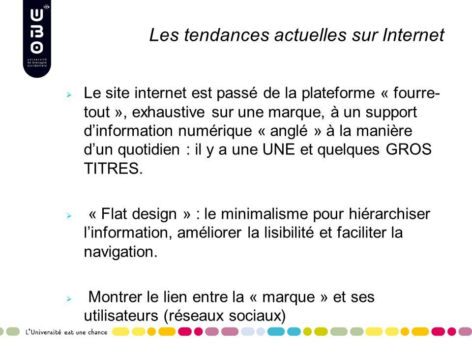 Les tendances actuelles sur Internet  Le site internet est passé de la plateforme « fourre- tout », exhaustive sur une marque, à un support d'information numérique « anglé » à la manière d'un quotidien : il y a une UNE et quelques GROS TITRES.