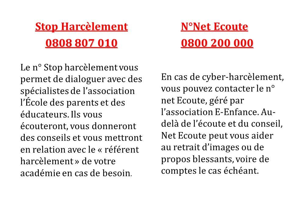 Stop Harcèlement 0808 807 010 Le n° Stop harcèlement vous permet de dialoguer avec des spécialistes de l'association l'École des parents et des éducateurs.