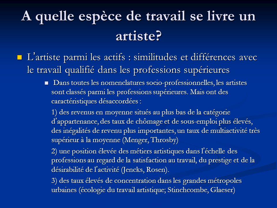 A quelle espèce de travail se livre un artiste? L'artiste parmi les actifs : similitudes et différences avec le travail qualifié dans les professions