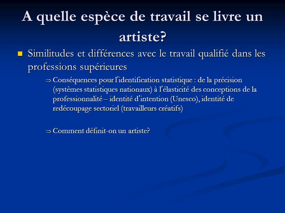 A quelle espèce de travail se livre un artiste? Similitudes et différences avec le travail qualifié dans les professions supérieures Similitudes et di