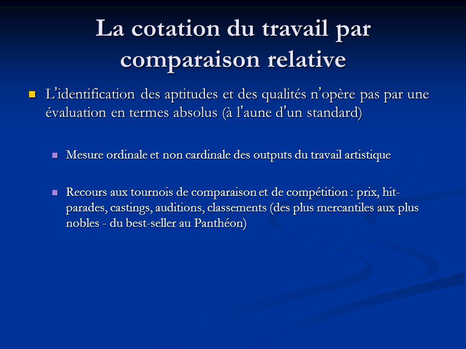 La cotation du travail par comparaison relative L'identification des aptitudes et des qualités n'opère pas par une évaluation en termes absolus (à l'a