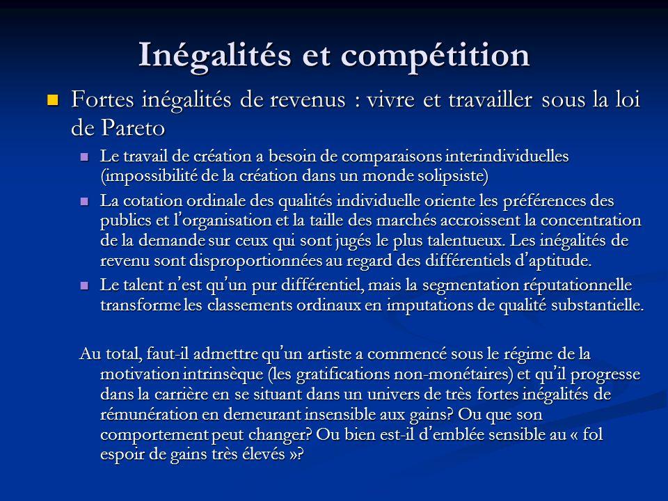 Inégalités et compétition Fortes inégalités de revenus : vivre et travailler sous la loi de Pareto Fortes inégalités de revenus : vivre et travailler
