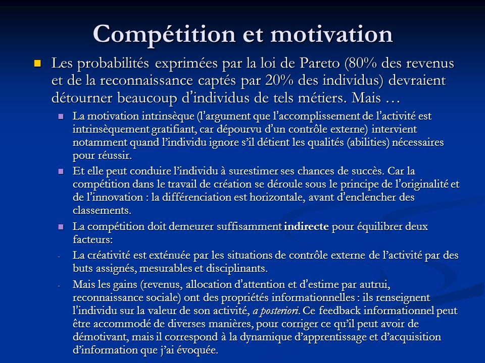 Compétition et motivation Les probabilités exprimées par la loi de Pareto (80% des revenus et de la reconnaissance captés par 20% des individus) devraient détourner beaucoup d'individus de tels métiers.