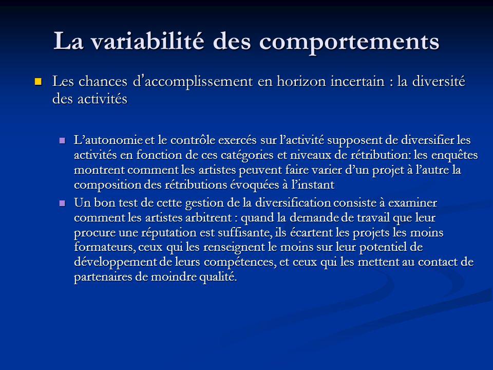 La variabilité des comportements Les chances d'accomplissement en horizon incertain : la diversité des activités Les chances d'accomplissement en hori